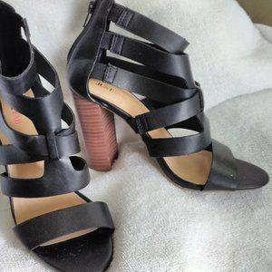 Just Fab  Black 6 Strap Ankle Heel
